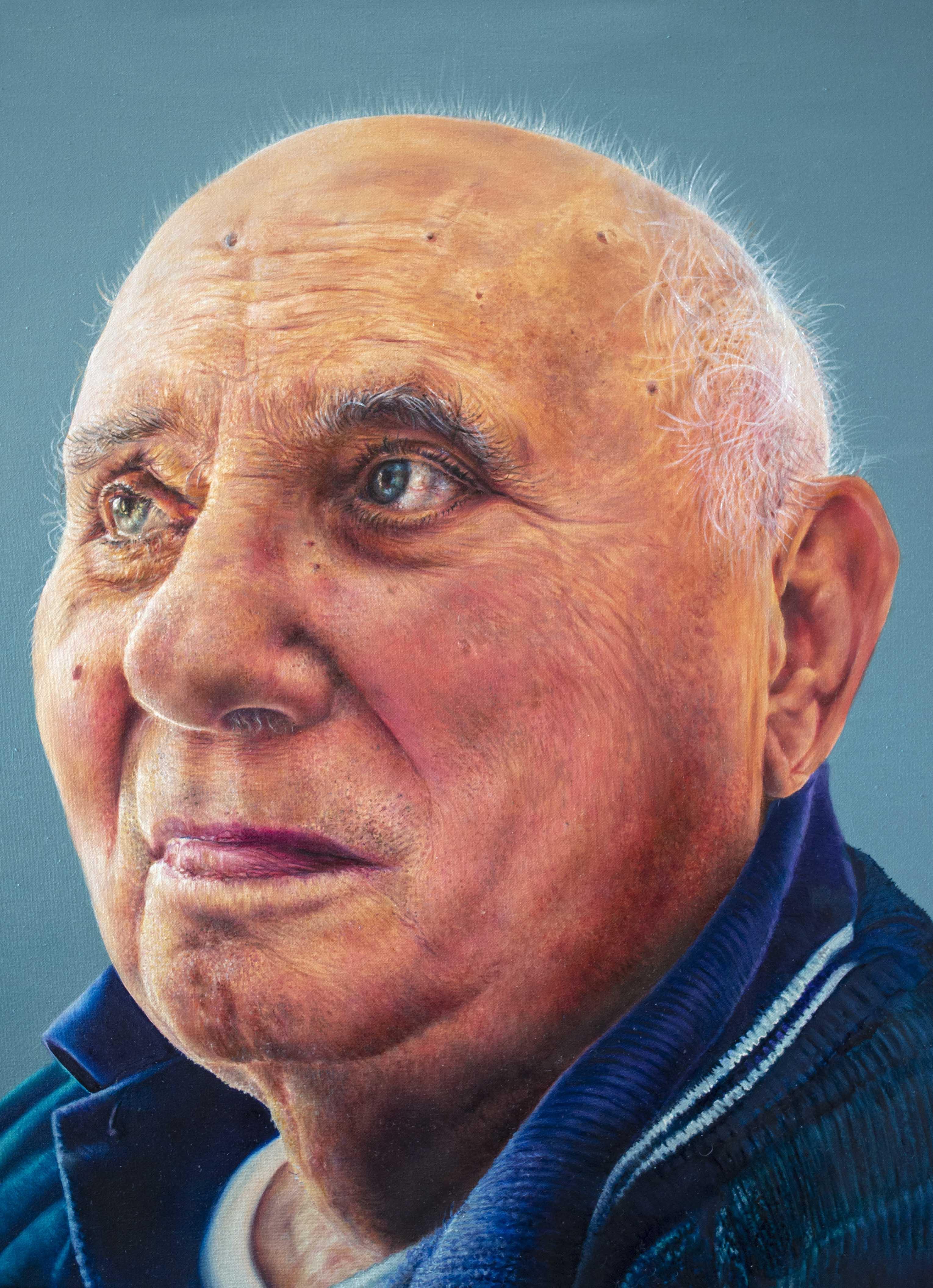 Fasi di esecuzione di un ritratto iperrealista, dipinto a olio
